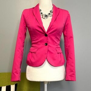 H&M Pink Two Button Tailored Blazer Jacket Size 2
